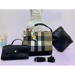WOMEN'S LUXURY 3 PIECE HAND BAG WITH SHOULDER LOCK