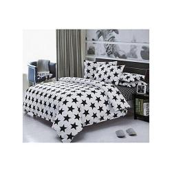 Black Star Unique Bedsheet And Duvet With Four Pillows