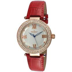 Peugeot CCWomen's 14k Rose Gold Plated Red Leather Dress Medium Size Watch