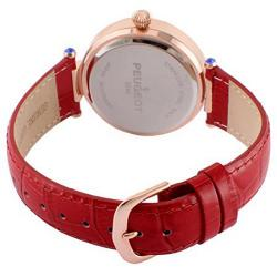 Peugeot 3046RD Women's 14k Rose Gold Plated Red Leather Dress Medium Size Watch