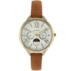 Peugeot 3053 Women's 14K Gold Plated Leather Small Size Watch