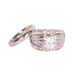 Bold Detachable Couple Wedding Ring