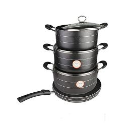 Hoffner 8 Pcs Set Non Stick Cookware Set - Black,24cm / 26cm and 28cm