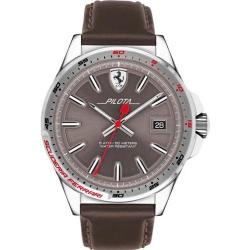 FERRARI 830488 MEN'S PILOTA STAINLESS STEEL GREY DIAL LEATHER WATCH