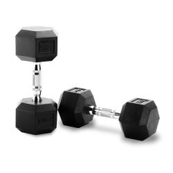 PIVOT FITNESS RUBBER HEX DUMBBELL 12.5KG [PAIR]