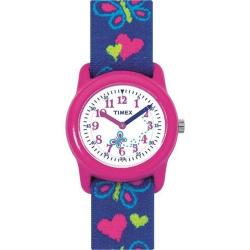 TIMEX T89001 GIRLS TIME MACHINES ANALOG HEARTS, BUTTERFLIES FABRIC WATCH