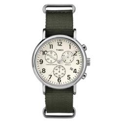 TIMEX T2P714 UNISEX WEEKENDER SLIP THRU GREEN CHRONO WATCH