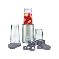 Bella Personal Size Rocket Blender, 12 Piece Set, Stainless Steel & Chrome